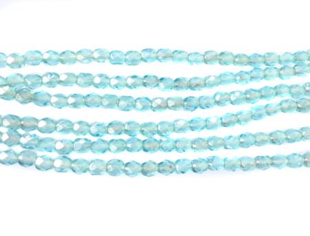 100 4mm light blue Czech glass Fire Polished Beads