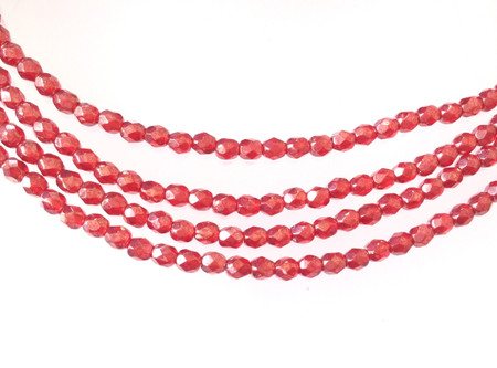 100 4mm Dark Indian Red glass Czech Fire Polished Beads