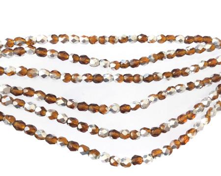 100 4mm Dark Amber AB glass Czech Fire Polished Beads
