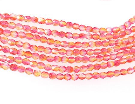 100 4mm two tone pink orange glass Czech Fire Polished Beads