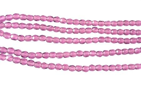 100 3mm Amethyst glass Czech Fire Polished Beads