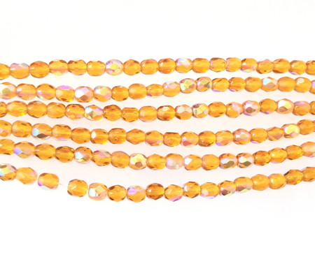 100 4mm light Amber glass Czech Fire Polished Beads