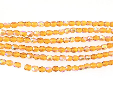 100 4mm light Amber glass Czech Fire Polished Beads