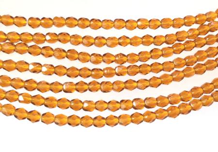 100 4mm Topaz glass Czech Fire Polished Beads