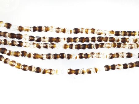 100 4mm Dark Amber multi glass Czech Fire Polished Beads