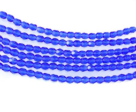 100 4mm Royal blue glass Czech Fire Polished Beads