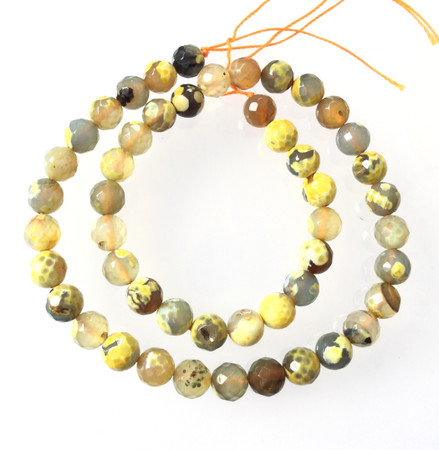 8mm Amazing Yellow and amber multi Agate Round faceted Gemstone Beads Stone-Jewelry Making