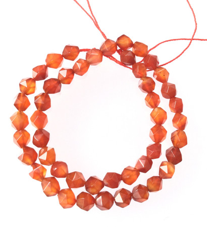 7mm Faceted Carnelian Agate Gemstone Beads Stone-Jewelry Making