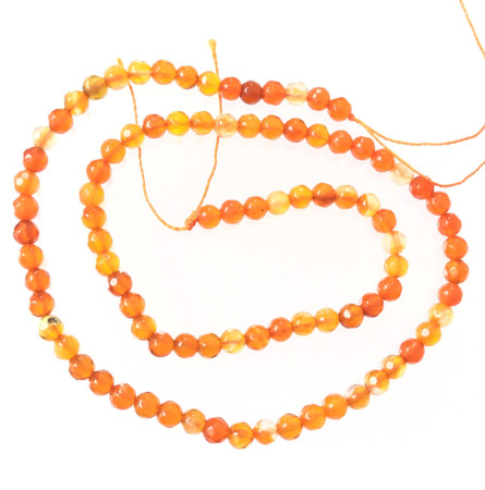4mm Round Faceted Carnelian Agate Gemstone Beads