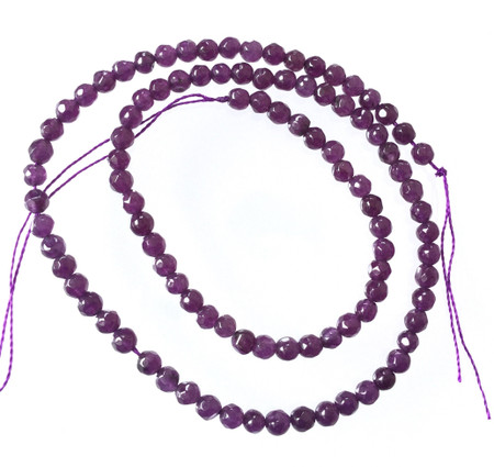 4mm Round Faceted Amethyst Gemstone Beads