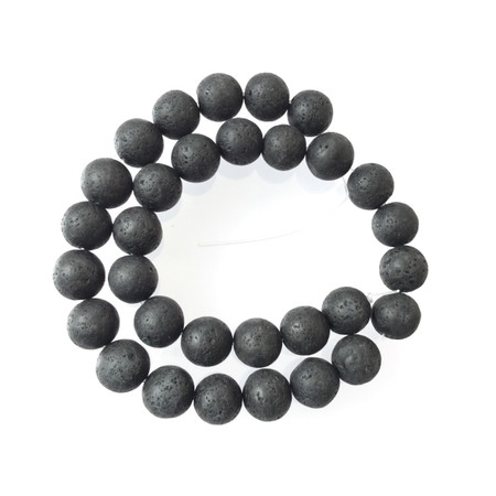 Round 12mm smooth Lava unpolished unwaxed Black Volcanic Gems