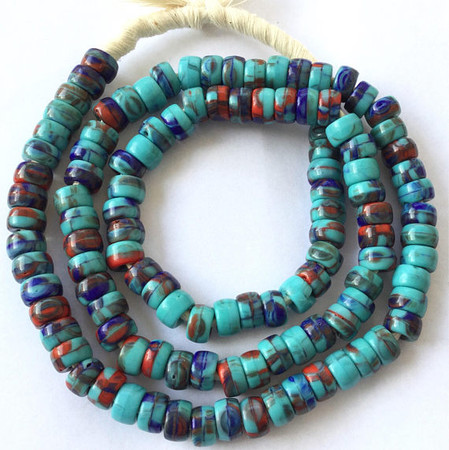 Fine Opaque Turquoise Multi Bohemian Crow glass African trade beads [3016]