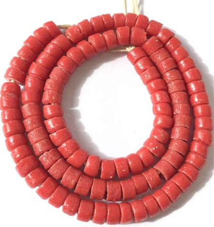 Strand Ghana Red Krobo Recycled Disk Glass African trade beads