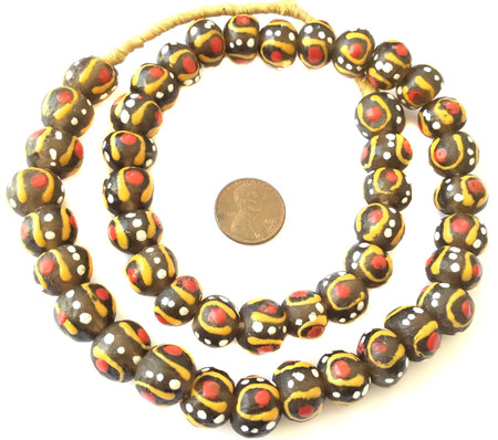Venetian style African Krobo recycled Glass Topaz multi African trade Beads-Ghana