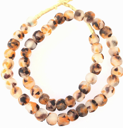 Krobo recycled Glass Orange Black Multi African trade Beads-Ghana