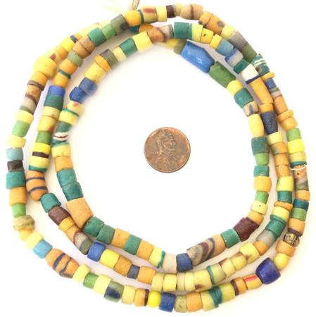 Ghana Handmade mélange Yellow recycled glass African trade beads