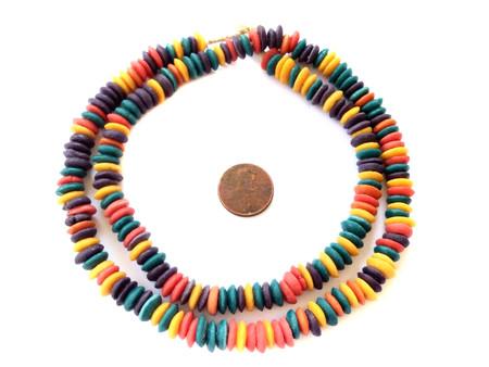 Ghana Ashanti Handmade Recycled Glass Opaque Assorted Colors Disk Beads-Ghana