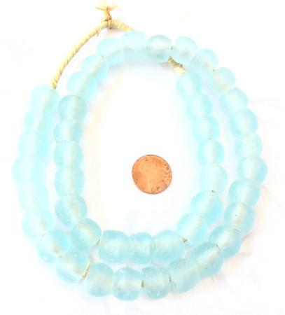 Handmade light aqua blue clear Krobo recycled Glass African trade Beads-Ghana