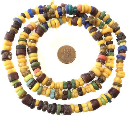 Brown Assortment Handmade Ghana Powder-Glass African Trade beads-Ghana