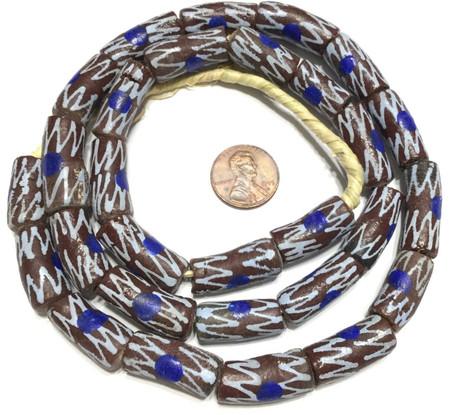 Dark Brown Blue Eye Zen handmade Krobo recycled Glass African trade Beads-Ghana