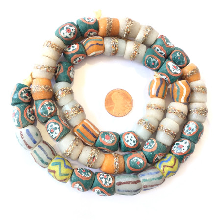 Handmade multi colored mixed Recycled glass trade beads-Ghana