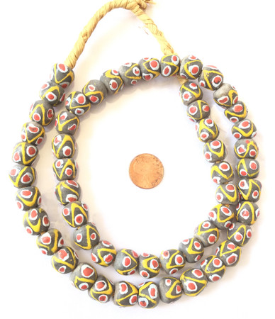 Ghana African Matched Op Sand Ash Round Recycled glass trade beads