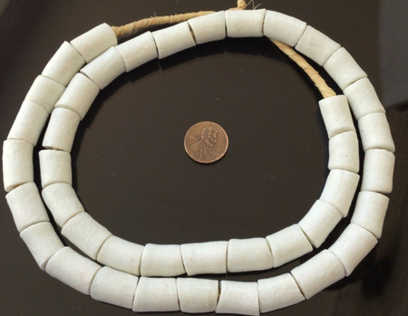Ghana African Opaque White cylinder Recycled glass trade beads-Ghana