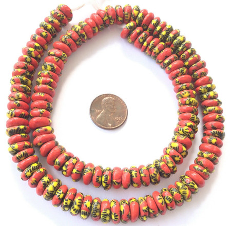 Ghana African Matched Coral Red Chevron Disk Recycled glass trade beads-Ghana