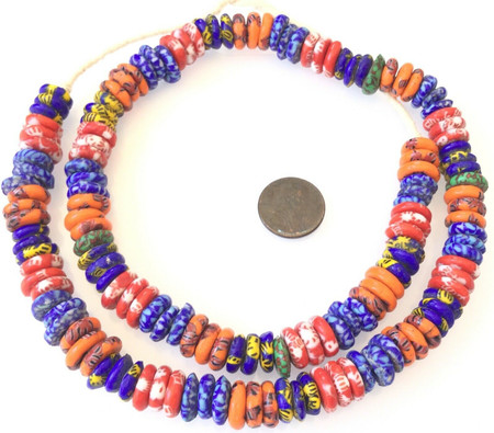 Matched Assorted Colors Chevron Rondelle Disk Recycled glass African trade beads-Ghana