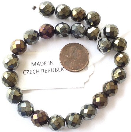 10mm Fine Vintage Traditional Czech Bohemian Met Khaki Bronze Fire Polished Beads