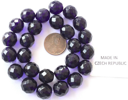 12mm Fine Vintage Traditional Czech Bohemian DK Cobalt Blue Fire Polished Beads