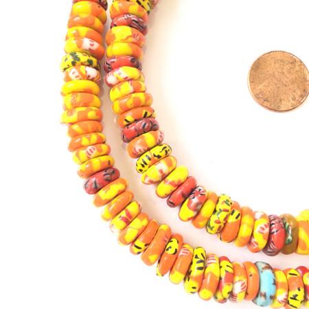 Ghana African Mixed Orange Chevron Disk Recycled glass trade beads-Ghana