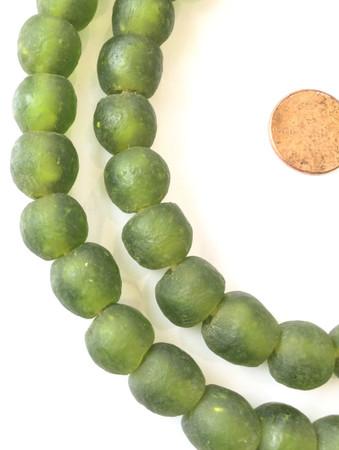 Handmade olive clear Krobo recycled Glass African trade Beads-Ghana