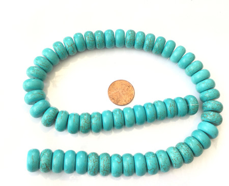 14mm Natural Turquoise Disk Rondelle Gemstone beads Gemstone Beads