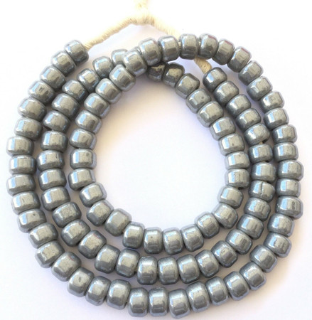 Fine Opaque Silver Grey Bohemian glass Crow African trade beads