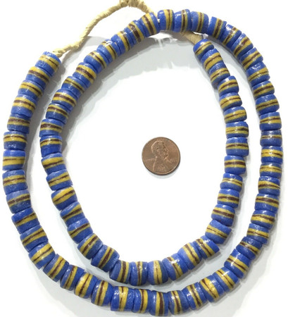 Handmade Opaque Blue and Yellow Recycled glass African trade beads-Ghana