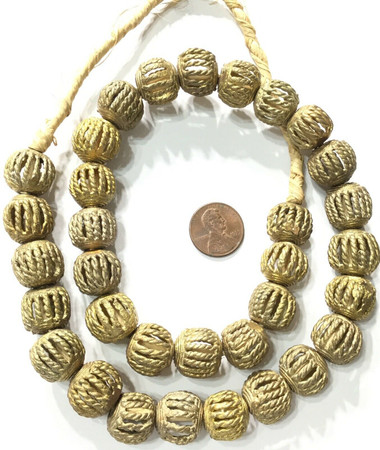 Tribal African lost Wax Round basket weave Brass trade Beads- New fall shipment