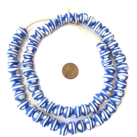 Amazing Ghana handmade blue glass Bicone African trade beads-Ghana-New Fall shipment