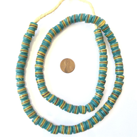 Handmade Teal Green yellow and brown banded Recycled glass African trade beads-Ghana