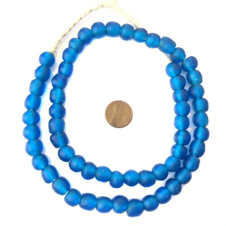 African translucent Lochmara blue Krobo handmade Ghana glass trade