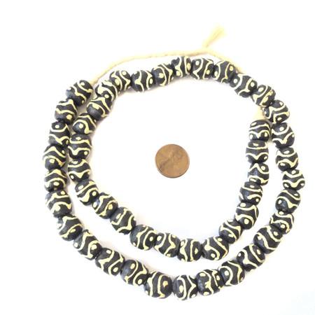Handmade Round Krobo Zen Recycled glass African trade beads-Ghana