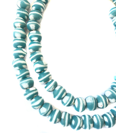 Amazing Ghana handmade Teal and white glass Bicone African trade beads-Ghana-New Fall shipment