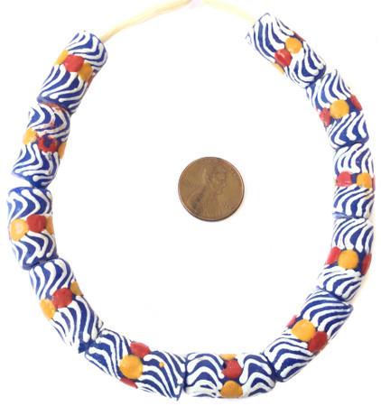 Short strand Handmade swirl red and orange eye African Krobo recycled glass beads-Ghana