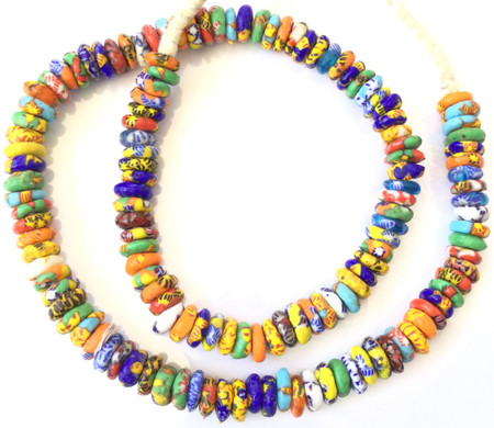 Ghana African Mixed multi colored Chevron Disk Recycled glass trade beads-Ghana