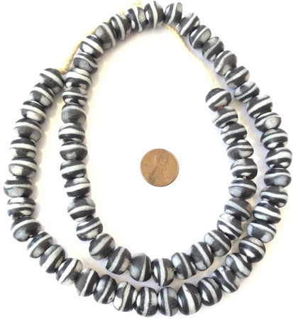 Handmade Opaque Black and White Recycled glass African trade beads-Ghana