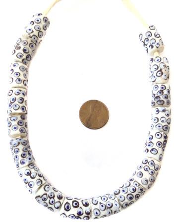 Short strand Handmade opaque white blue eye African Krobo recycled glass beads-Ghana