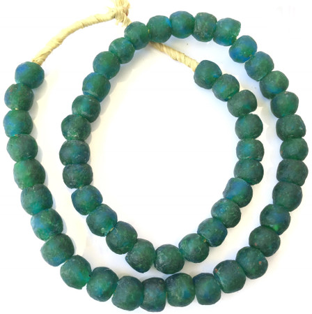 48 Made in Ghana Viridian Green recycled Glass African trade Beads-Ghana