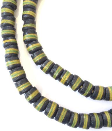 Handmade Baltic Sea Gray yellow banded Recycled glass African trade beads-Ghana