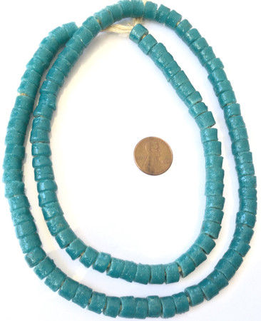 Ghana Teal Krobo recycled Glass Disk African trade bead