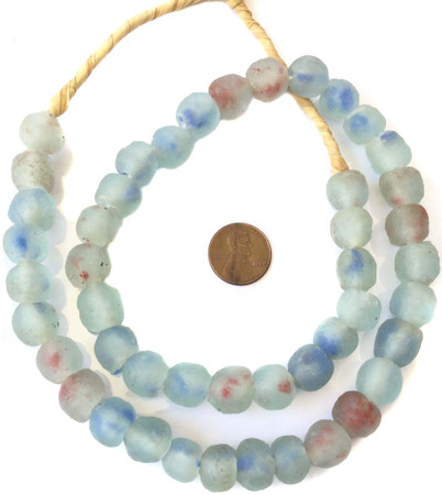 Made in Ghana round Krobo Blue recycled Glass African trade Beads-Ghana